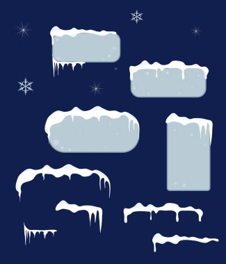 Christmas sale stickers and tags with icicles, snow top