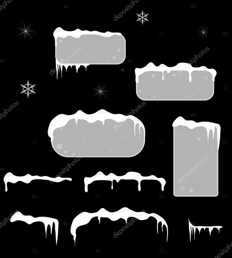 Christmas sale stickers and tags with icicles, snow top.