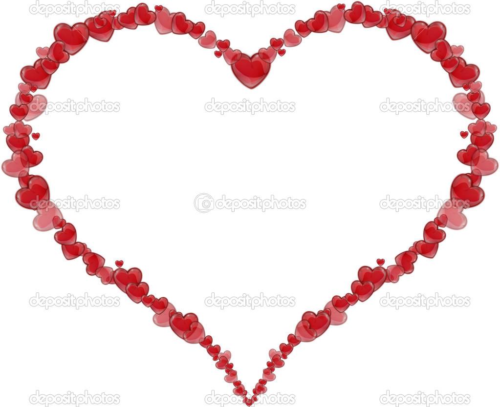 marco corazón hecho de corazones para un día de San Valentín o día ...