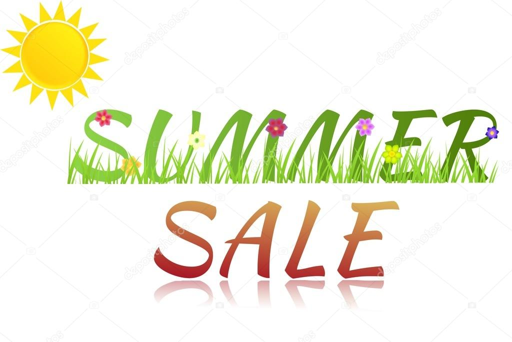 Inscription Summer sale with flowers,grass