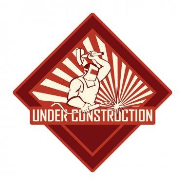 Vintage under construction sign
