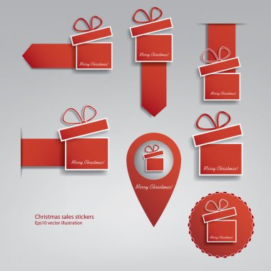 Collection of Christmas red sale tickets, labels, stamps, stickers, corners, tags on white background clip art vector