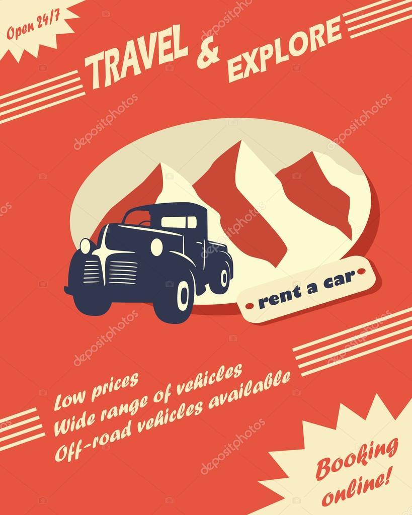 vintage car rental flyer stock vector micicj 50298693