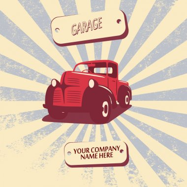 Vintage retro pickup truck car vector illustration