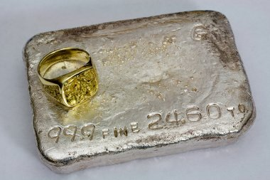 Silver Bullion Bar and Gold Nugget Ring