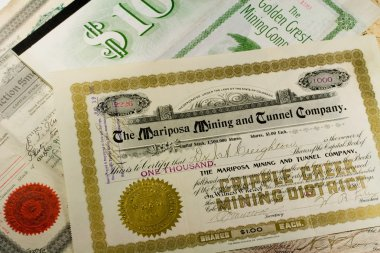 Antique Western Mining Company Stock Certificates