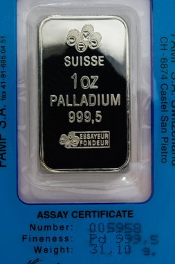 One Troy Ounce Pure Palladium Bar