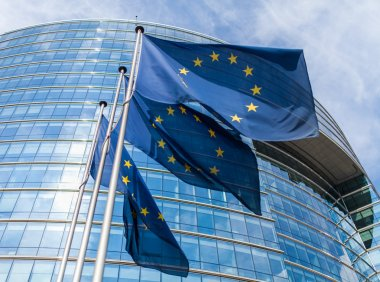 "Картина, постер, плакат, фотообои ""европейские флаги перед еврокомиссией "", артикул 35711349"