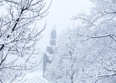 Volodymyr monument in winter in Kyiv