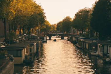 Amsterdam channel with boat houses