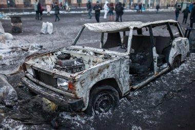 Burned car in Kiev