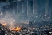 spálené budova v maidan v Kyjevě, Ukrajina