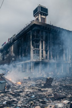 Burned building at the Maidan in Kyiv, Ukraine