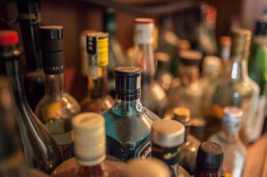 Bottles of  alcohol in a bar