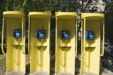 Telephone booths in a row