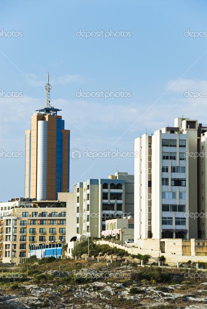 Buildings in a city, Portomaso Tower, Portomaso, Paceville, St