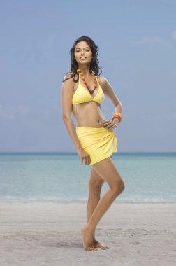 Female fashion model on the beach