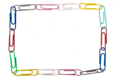 Assorted paper clips arranged in a rectangular shape