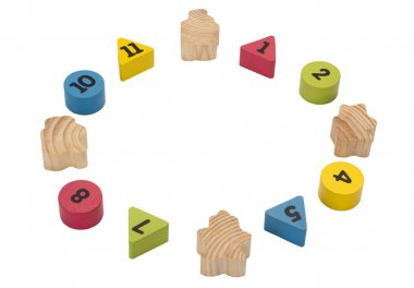 Close-up of numeric blocks with hidden numbers arranged in circular shape