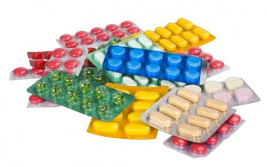 Close-up of medicines in blister packs
