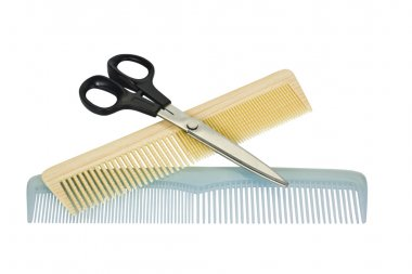 Close-up of two combs with scissors
