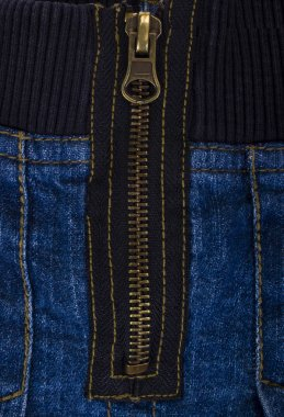 Close-up of a zipper of mini skirt