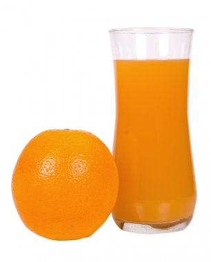 Orange with a glass of juice