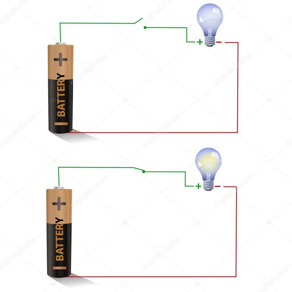offene und geschlossene Schalter mit einer Glühlampe und Batterie ...