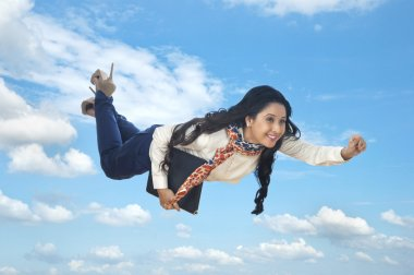 Businesswoman flying