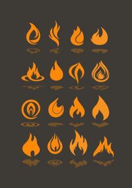 Illustration of Flame icons set