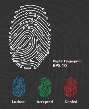 Vector illustration of Fingerprint Reader clip art vector