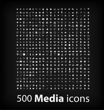 Illustration of 500 media icons set