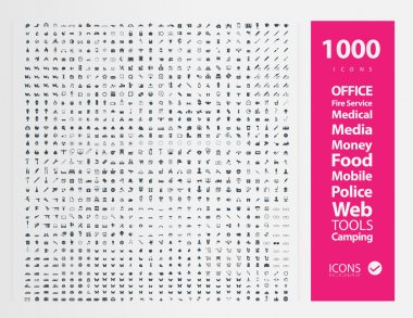 Illustration of 1000 different icons