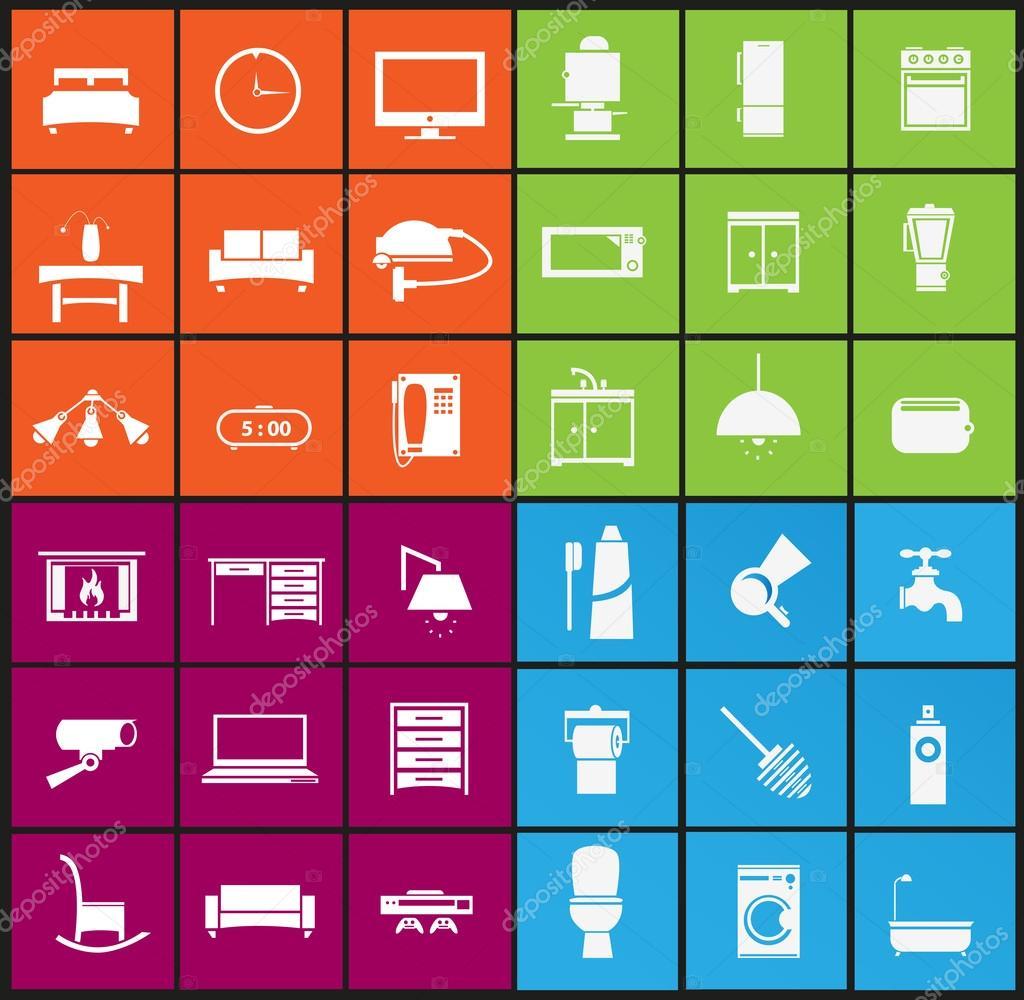 Vector Illustration Of Living Room , Bedroom , Kitchen, Bathroom Equipment  Set U2014 Vector By Sky Designs Part 40
