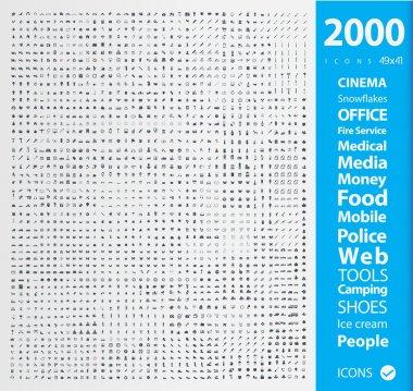 Illustration of Set of 2000 Quality icons