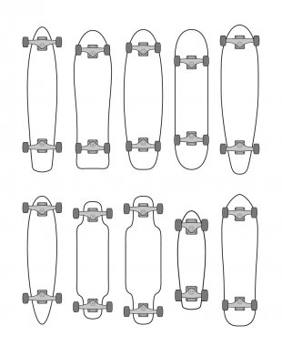 Collection of various shaped skateboards and longboards stock vector