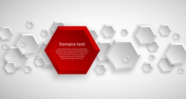 Abstract hexagon red background