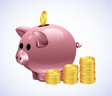 Vector Piggy Moneybox With Coins