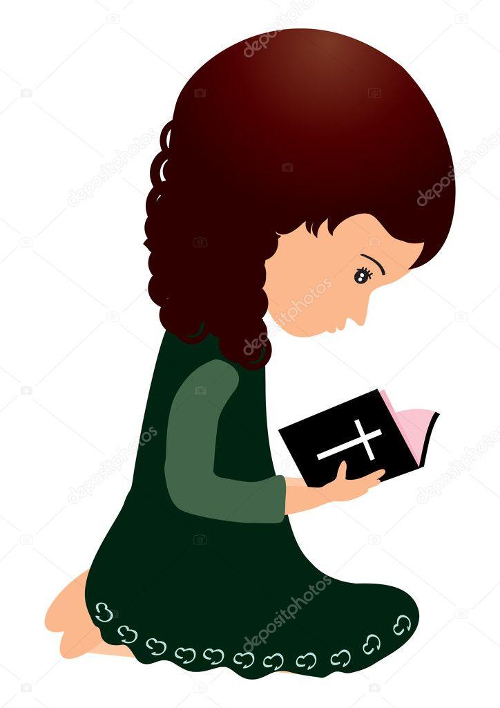 Dibujo De Una Niña Leyendo La Biblia Leyendo La Biblia Vector De