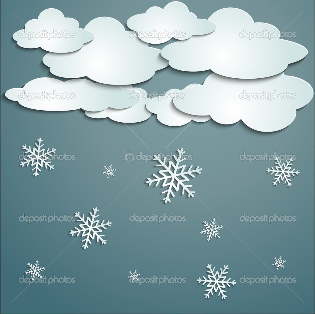Winter with white clouds