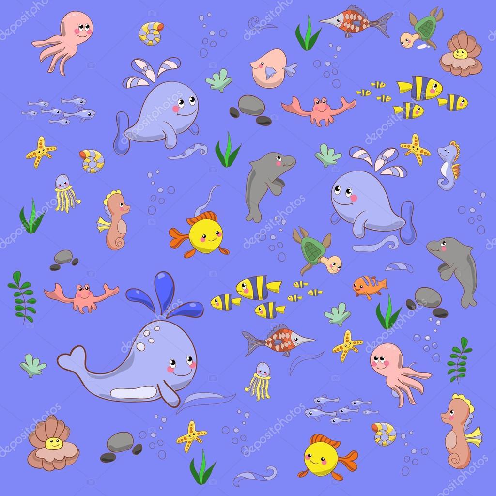 Cartoon set with sea live