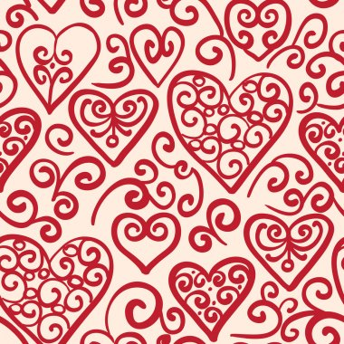 Vector seamless pattern hand drawn, doodle hearts in red, swirl design elements clip art vector