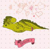 Fotografie Vector illustration of cartoon dragon