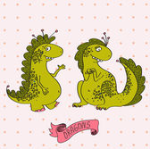 Vector illustration of two cartoon dragons in love. Cute pink card.