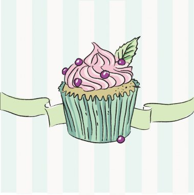 Illustration of cupcake with pink cream