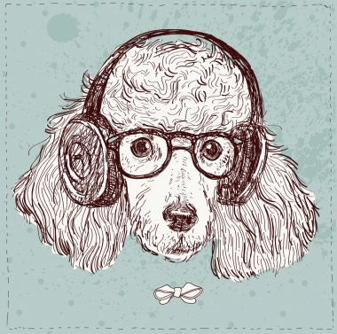 hipster poodle with glasses