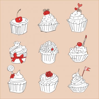 Illustration of vector set of cupcakes
