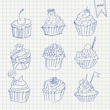 Set of cupcakes on squared paper