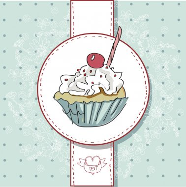 Vector card with colorful cupcake