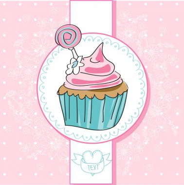 Pink cupcake in vector